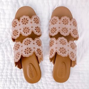 See by Chloé Floral Eyelet Sandals, Size 39.5